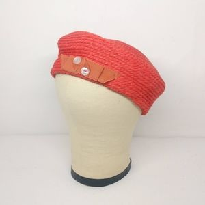 "Vintage Everitt 22.5"" -- 22 1/2"" Red Beret Hat"